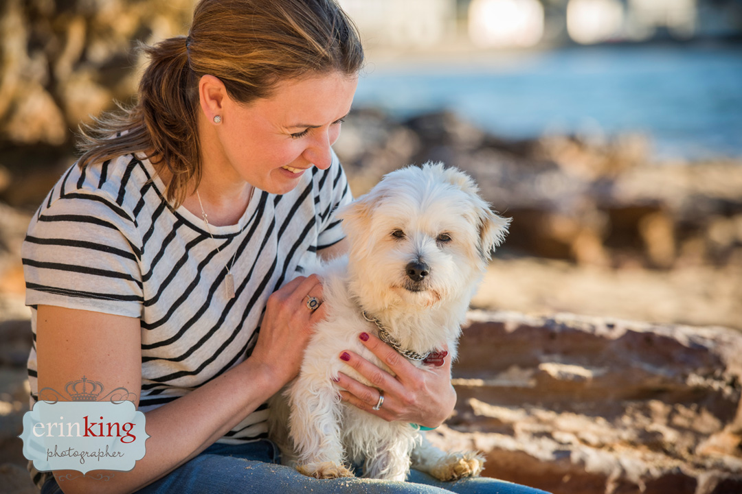 girl and her dog at beach